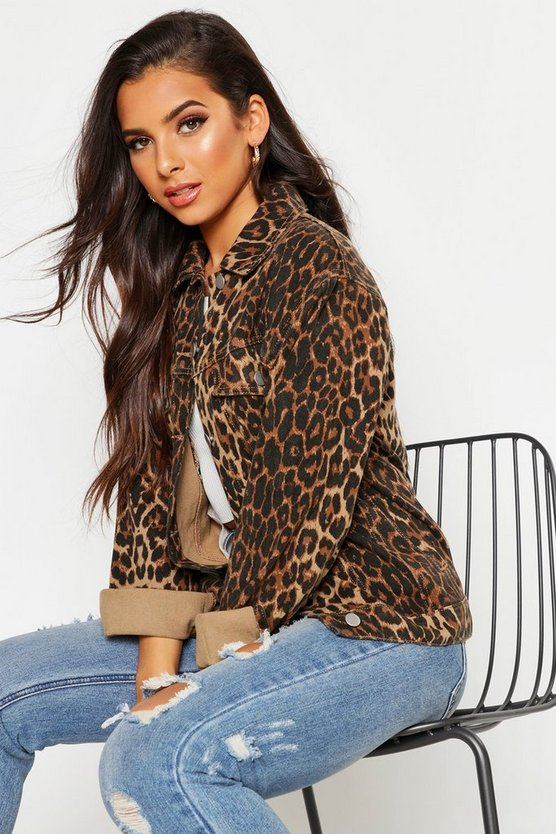 Brown Leopard Oversized Denim Jacket