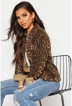 Womens Brown Leopard Oversized Denim Jacket