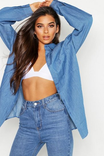 Womens Blue Oversized Denim Shirt