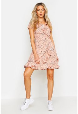 Womens Pink Cap Sleeve Floral Print Ruffle Tea Dress