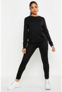 Womens Black Pocket Front Knitted Lounge Set