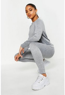 Womens Grey Pocket Front Knitted Lounge Set