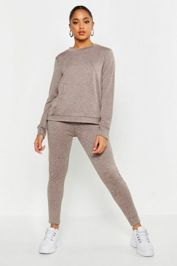 Womens Oatmeal Pocket Front Knitted Lounge Set