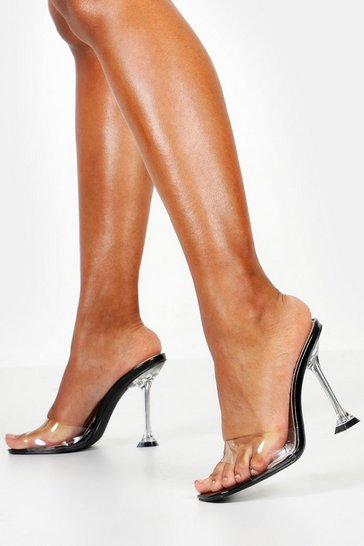 Womens Black Interest Heel Peeptoe Clear Mules