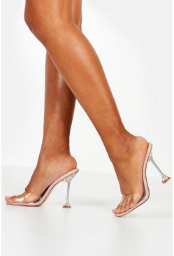 Womens Nude Interest Heel Peeptoe Clear Mules