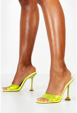 Lime Interest Heel Peeptoe Clear Mules