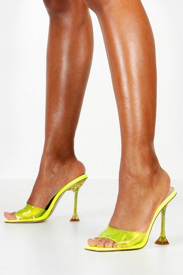 Womens Lime Interest Heel Peeptoe Clear Mules