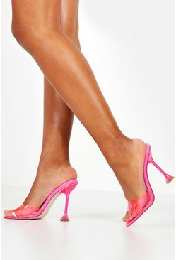 Womens Pink Interest Heel Peeptoe Clear Mules