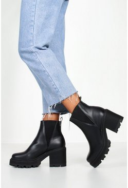 Womens Black Wide Fit Cleated Block Heel Chelsea Boots