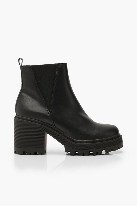 Wide Fit Cleated Block Heel Chelsea Boots