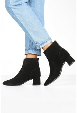 Womens Black Suede Block Heel Shoe Boots