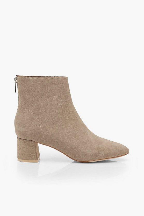 Suede Block Heel Shoe Boots