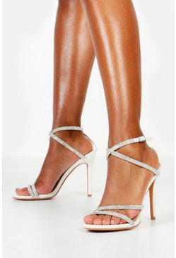 White Embellished Multi Strap Heel Sandals