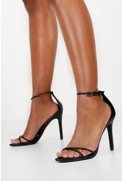 Womens Black Cross Strap Stiletto 2 Part Heels
