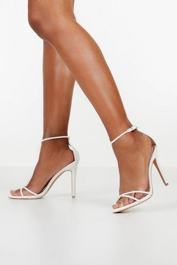 Womens White Cross Strap Stiletto 2 Part Heels