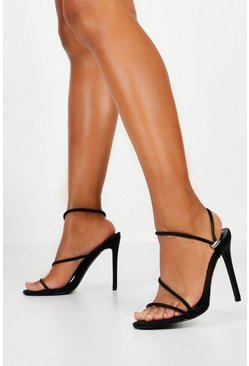 Womens Black Toggle Pull Strappy Heels