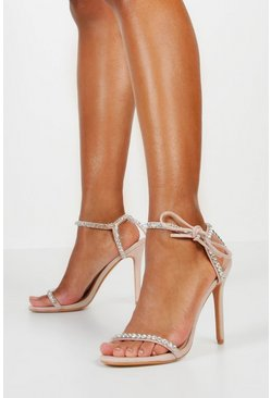 Nude Embellished Tie Strap Heeled Sandals