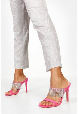 Hot pink Embellished Fringe Stiletto Mules