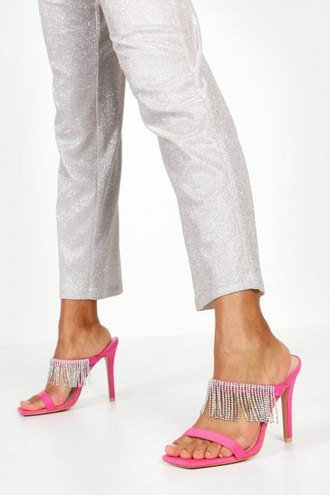 Womens Hot pink Embellished Fringe Stiletto Mules