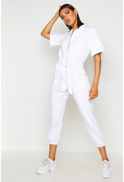 Dam White O Ring Zip Through Utility Denim Boilersuit