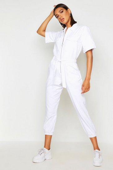 Womens White O Ring Zip Through Utility Denim Boilersuit