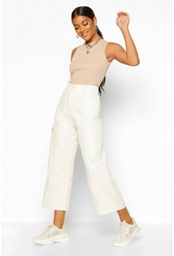 Ecru Wide Leg Contrast Stitch Denim Trouser