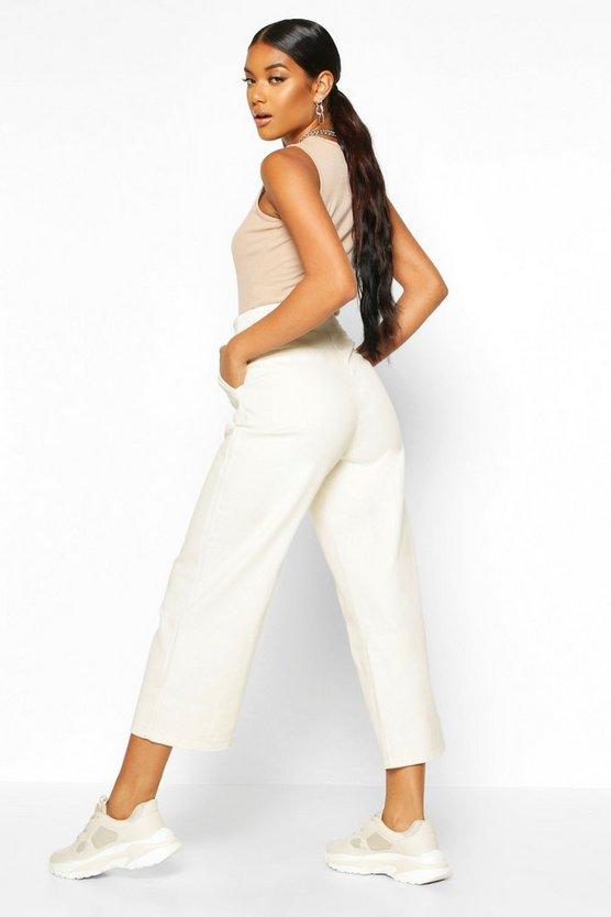 Wide Leg Contrast Stitch Denim Trouser
