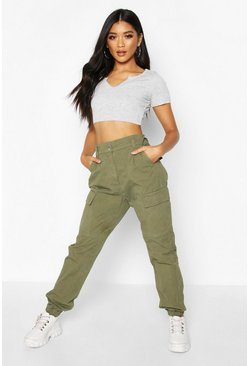 Womens Khaki Cargo Denim Jeans