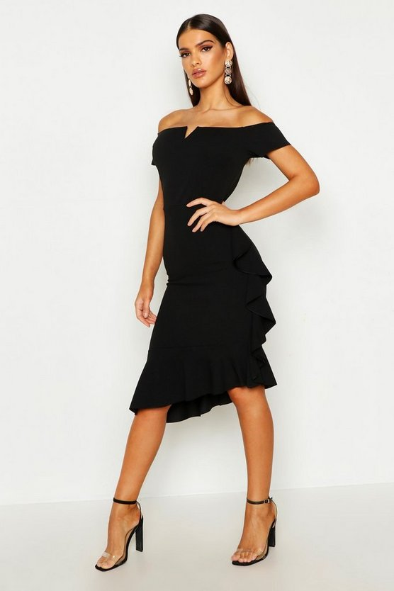 Womens Black Bardot V Bar Ruffle Side Midi Dress