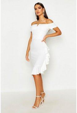 Womens Ivory Bardot V Bar Ruffle Side Midi Dress