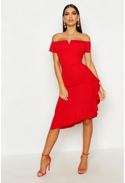 Womens Red Bardot V Bar Ruffle Side Midi Dress
