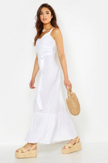 Womens White Belted Frill Hem Maxi Dress