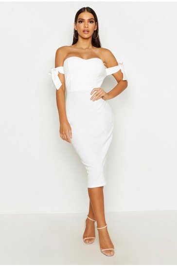 Womens Ivory Bardot Tie Sleeve Midi Dress