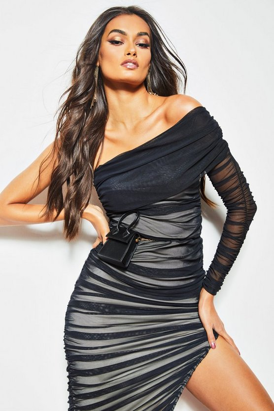 Womens Black One Shoulder Ruched Double Layer Midi Dress