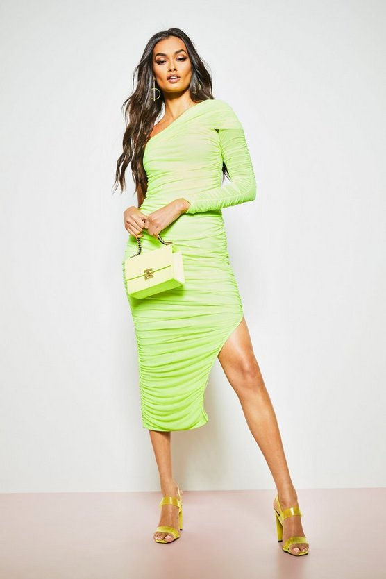 Womens Lime One Shoulder Ruched Double Layer Midi Dress