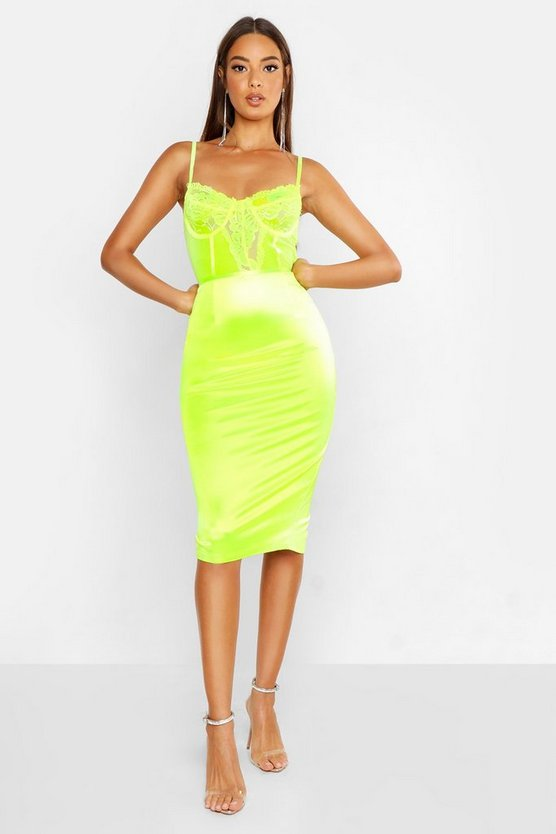 Womens Neon-lime Satin Midi Dress With Lace Bodice