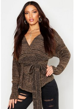 Womens Camel Marl Knit Wrap Detail Peplum Cardigan