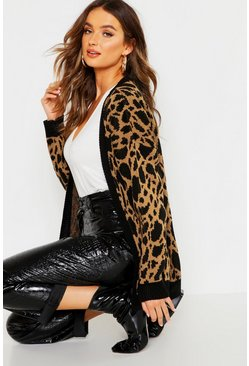Womens Camel Leopard Print Knitted Cardigan