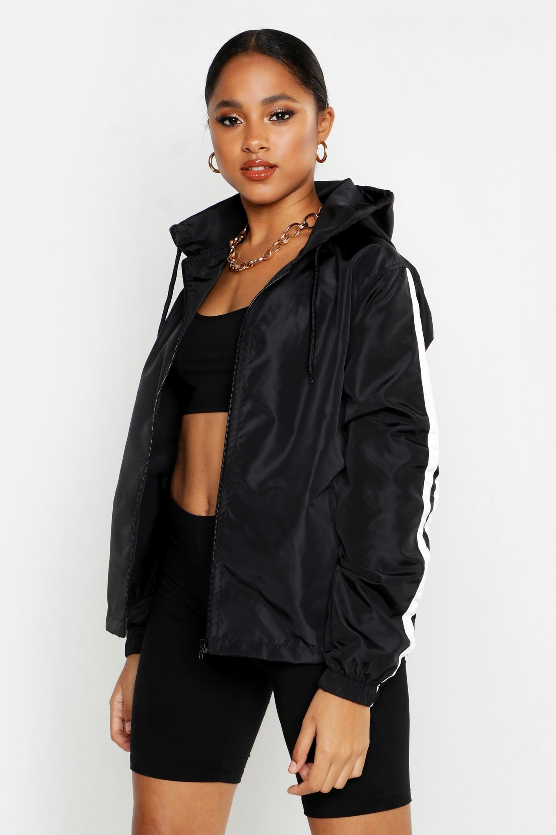 Side Stripe Windbreaker by Boohoo