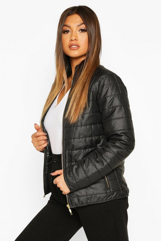 Black Panelled Funnel Neck Jacket