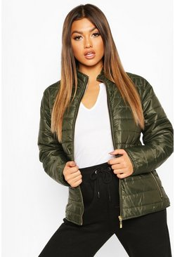 Womens Khaki Panelled Funnel Neck Jacket