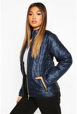 Navy Panelled Funnel Neck Jacket