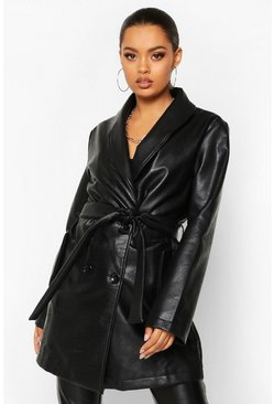 Black Belted Oversize Pu Jacket
