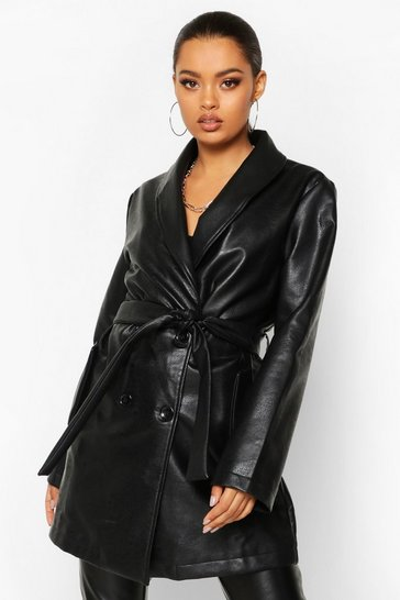 Womens Black Belted Oversize Pu Jacket