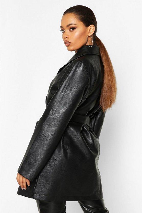 Belted Oversize Pu Jacket