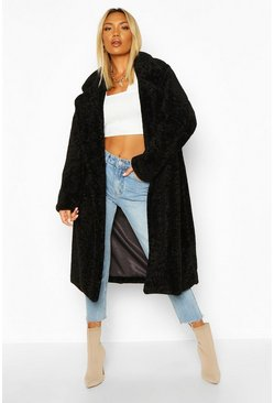 Black Oversized Textured Faux Fur Coat