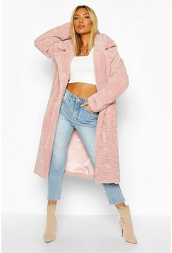 Womens Dusky pink Oversized Textured Faux Fur Coat
