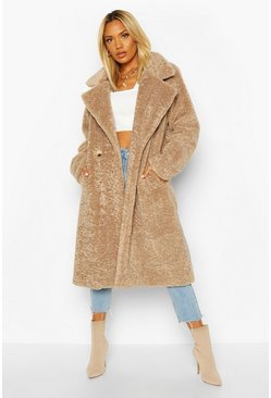 Womens Mocha Oversized Textured Faux Fur Coat