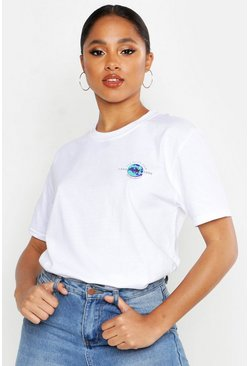 Womens White Pocket Print Slogan Tour T-Shirt