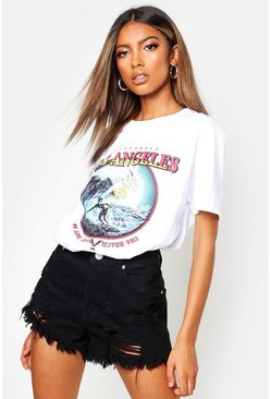 "Surf T-Shirt mit Slogan ""Los Angeles"", Weiß, Damen"